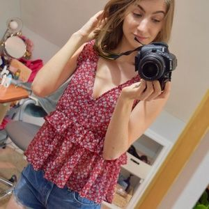 American Eagle Red Floral Tank Top